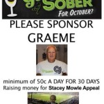 Club Secretary Graeme Clark has agreed to go through the entire month without drinking any alcohol.